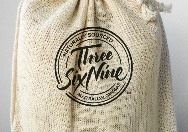 Hemp Gallery Australia Swing tag and packaging design for Hulled Hemp Seeds Three Six Nine Product Bag Design Hessian