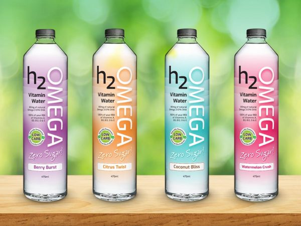 H2Omega Vitamin Water Zero Sugar Packaging Design Plastic Shrinkwrap Graphic Design Range Flavours Bottle FMCG Fresco Creative Surry Hills Sydney