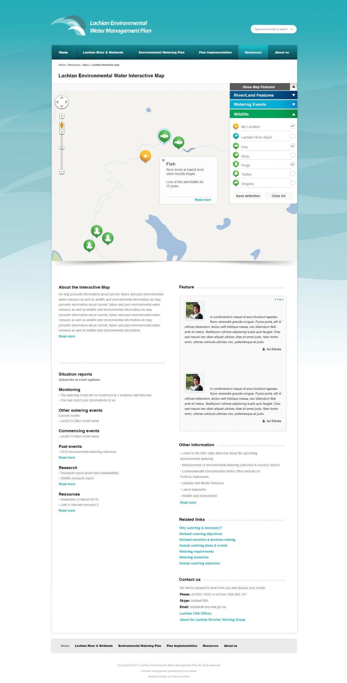Lachlan Riverine Working Group - Government Website and Icon and Map Design