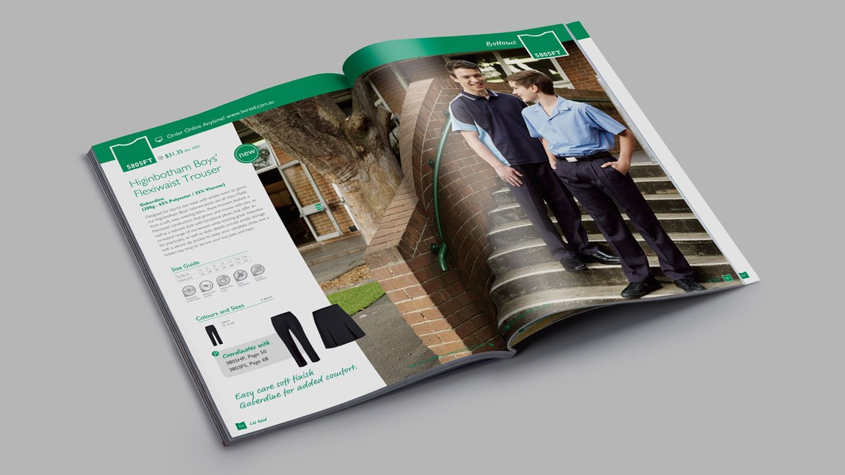 LW Reid School Uniform Product Catalogue Graphic Design Navigation Colour-coding Publication Brochure Product Fresco Creative Surry Hills Sydney