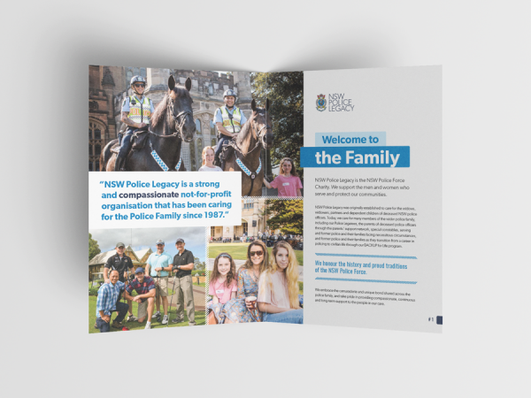 NSW Police Legacy - Caring for the Police Family A5 Brochure - brochure design Sydney