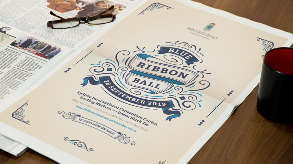 Blue Ribbon Ball Event Graphic Design