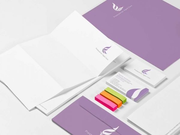 Presbyterian Aged Care Sub Brand Logo Design Graphic Branding Stationery Development Fresco Creative Business Card With COmpliments Slip Envelope