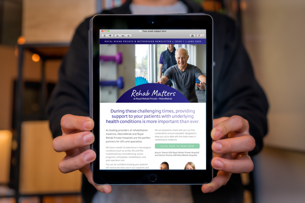 Royal Rehab Private Hospital Newsletter EDM digital marketing fresco creative sydney surry hills graphic design web development