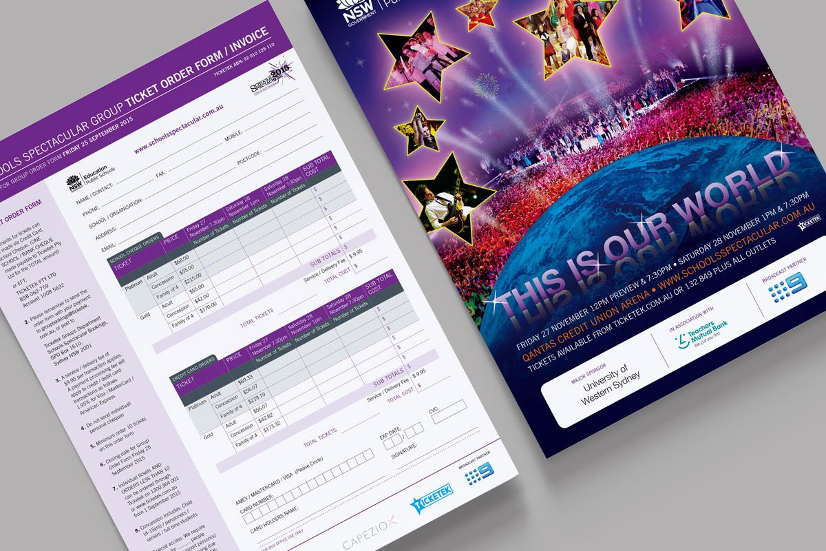 Fresco Creative Schools Spectacular 2015 A4 Ticket Order Form