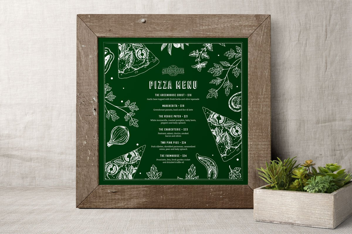Fresco Creative The Greenhouse of Orange Pizza Menu