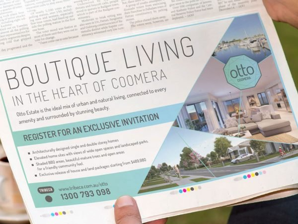 Tribeca Coomera Gold Coast Bulletin Newspaper Ad Tribeca Otto Estate Bus Advertising Media Buying Promotion Design Branding Graphic Fresco Creative Surry Hills Sydney