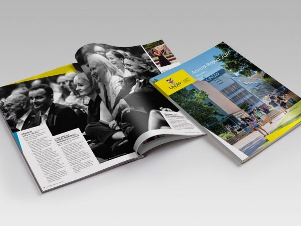 UNSW Annual Report Magazine Design Review Financials Publication Fresco Creative Surry Hills Graphic Icons Charts Tables University of New South Wales Financial Statements