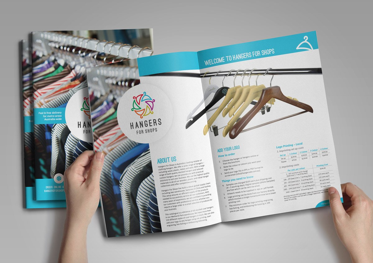Hangers for Shops Product Catalogue Graphic Design Navigation Colour-coding Publication Brochure Product Fresco Creative Surry Hills Sydney